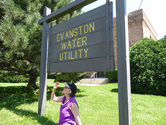 Leadership Evanston director Jennifer Moran at the Evanston Water Utility, one of the highlights on the bus tour.
