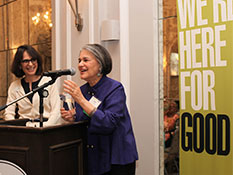 Retiring former Board Chair Joan Gunzberg accepts the Jim Kogen Foundation Spirit Award from ECF Board Chair Diana Cohen.